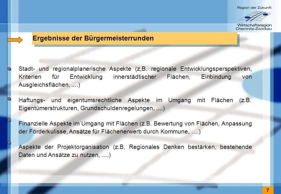 7 Ergebnisse der Bürgermeisterrunden Stadt- und regionalplanerische Aspekte (z,B.