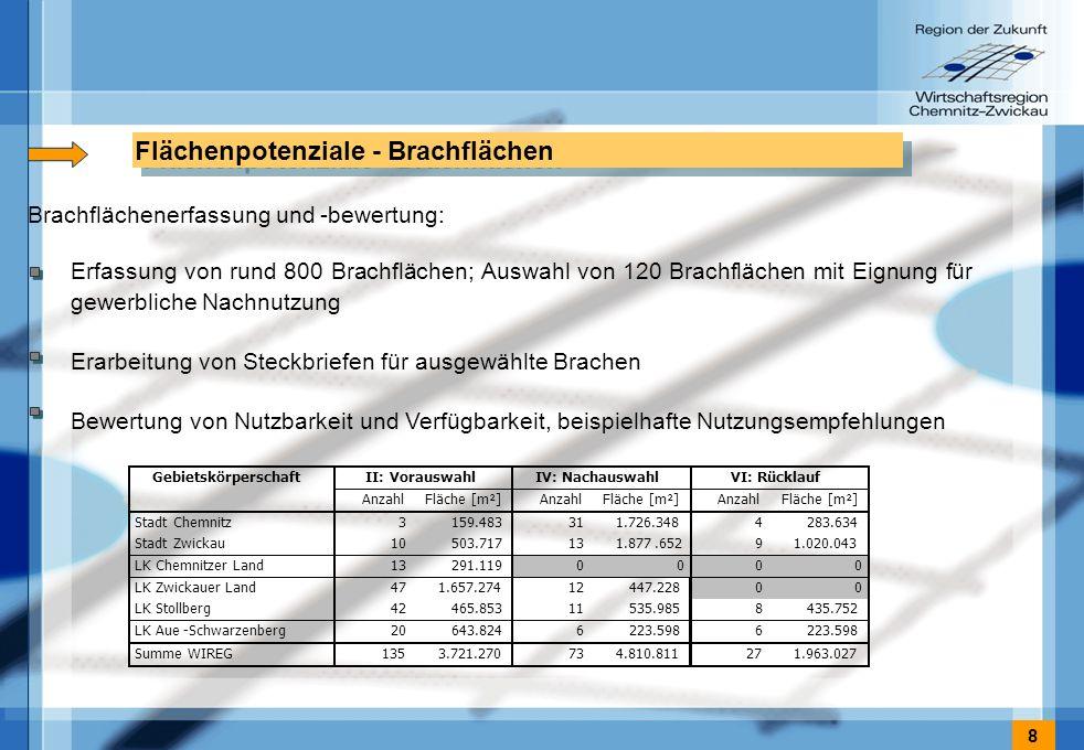 8 Flächenpotenziale - Brachflächen Erfassung von rund 800 Brachflächen; Auswahl von 120 Brachflächen mit Eignung für gewerbliche Nachnutzung Erarbeitung von Steckbriefen für ausgewählte Brachen Bewertung von Nutzbarkeit und Verfügbarkeit, beispielhafte Nutzungsempfehlungen Brachflächenerfassung und -bewertung: 0 0 LK Stollberg 42 465.853 11 535.985 8 435.752 LK Aue-Schwarzenberg 20 643.824 6 223.598 6 Summe WIREG 135 3.721.270 73 4.810.811 27 1.963.027