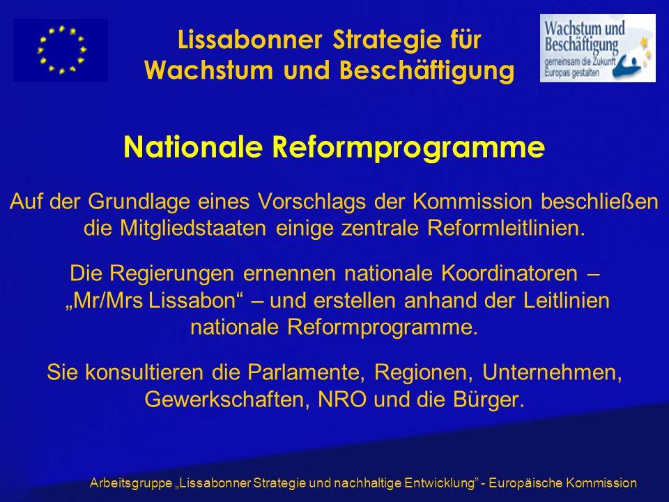 Arbeitsgruppe Lissabonner Strategie und nachhaltige Entwicklung - Europäische Kommission Nationale Reformprogramme Auf der Grundlage eines Vorschlags der Kommission beschließen die Mitgliedstaaten einige zentrale Reformleitlinien.