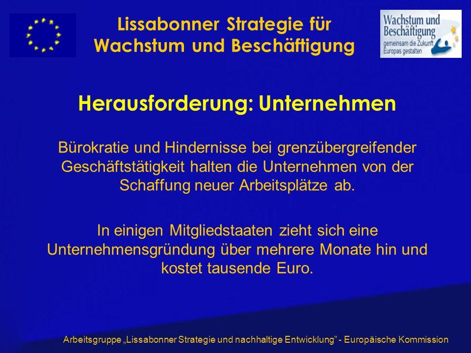 Arbeitsgruppe Lissabonner Strategie und nachhaltige Entwicklung - Europäische Kommission Herausforderung: Unternehmen Bürokratie und Hindernisse bei g