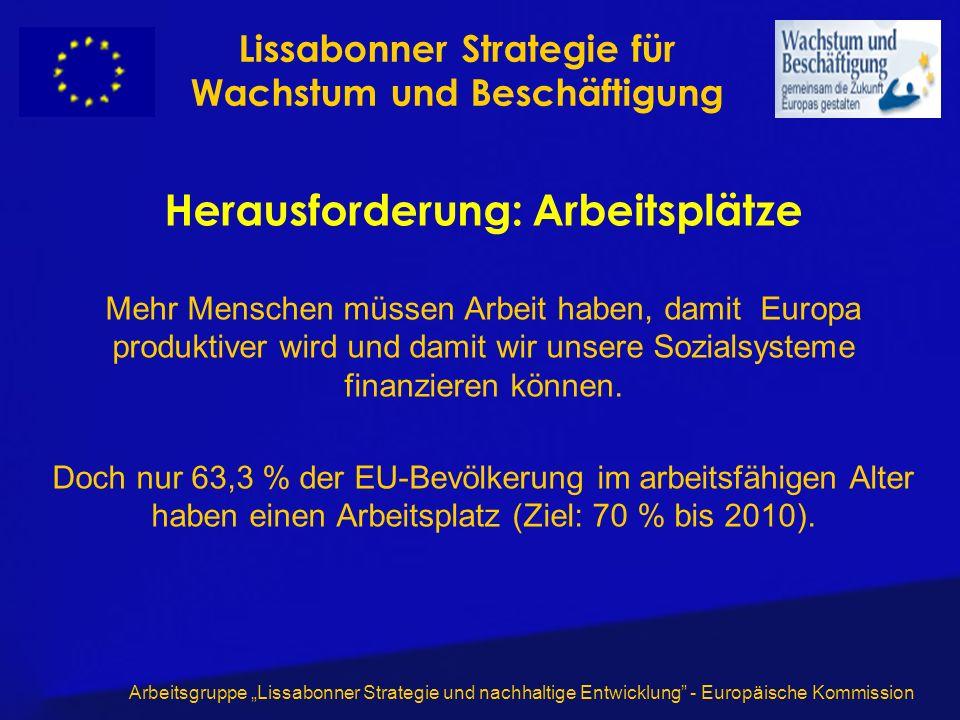 Arbeitsgruppe Lissabonner Strategie und nachhaltige Entwicklung - Europäische Kommission Herausforderung: Arbeitsplätze Mehr Menschen müssen Arbeit haben, damit Europa produktiver wird und damit wir unsere Sozialsysteme finanzieren können.