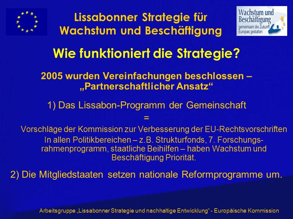 Arbeitsgruppe Lissabonner Strategie und nachhaltige Entwicklung - Europäische Kommission Wie funktioniert die Strategie? 2005 wurden Vereinfachungen b