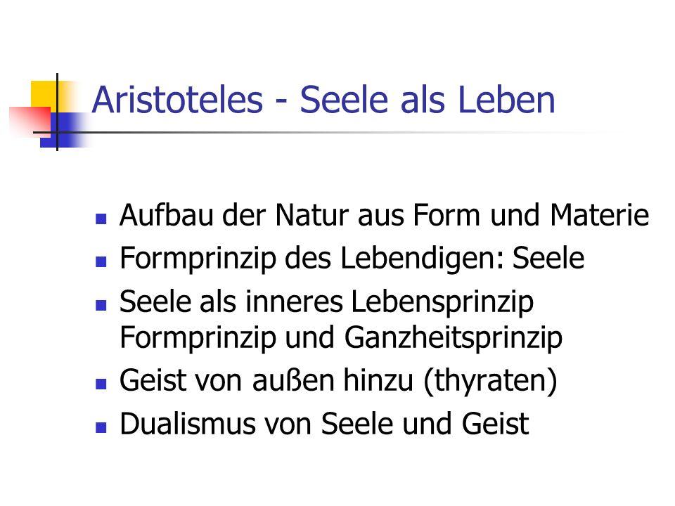 Aristoteles - Seele als Leben Aufbau der Natur aus Form und Materie Formprinzip des Lebendigen: Seele Seele als inneres Lebensprinzip Formprinzip und Ganzheitsprinzip Geist von außen hinzu (thyraten) Dualismus von Seele und Geist