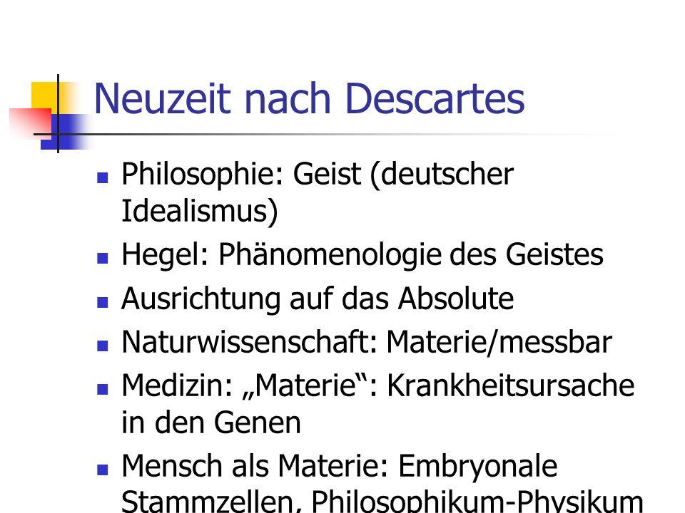 Neuzeit nach Descartes Philosophie: Geist (deutscher Idealismus) Hegel: Phänomenologie des Geistes Ausrichtung auf das Absolute Naturwissenschaft: Materie/messbar Medizin: Materie: Krankheitsursache in den Genen Mensch als Materie: Embryonale Stammzellen, Philosophikum-Physikum