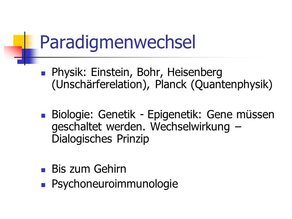 Paradigmenwechsel Physik: Einstein, Bohr, Heisenberg (Unschärferelation), Planck (Quantenphysik) Biologie: Genetik - Epigenetik: Gene müssen geschaltet werden.