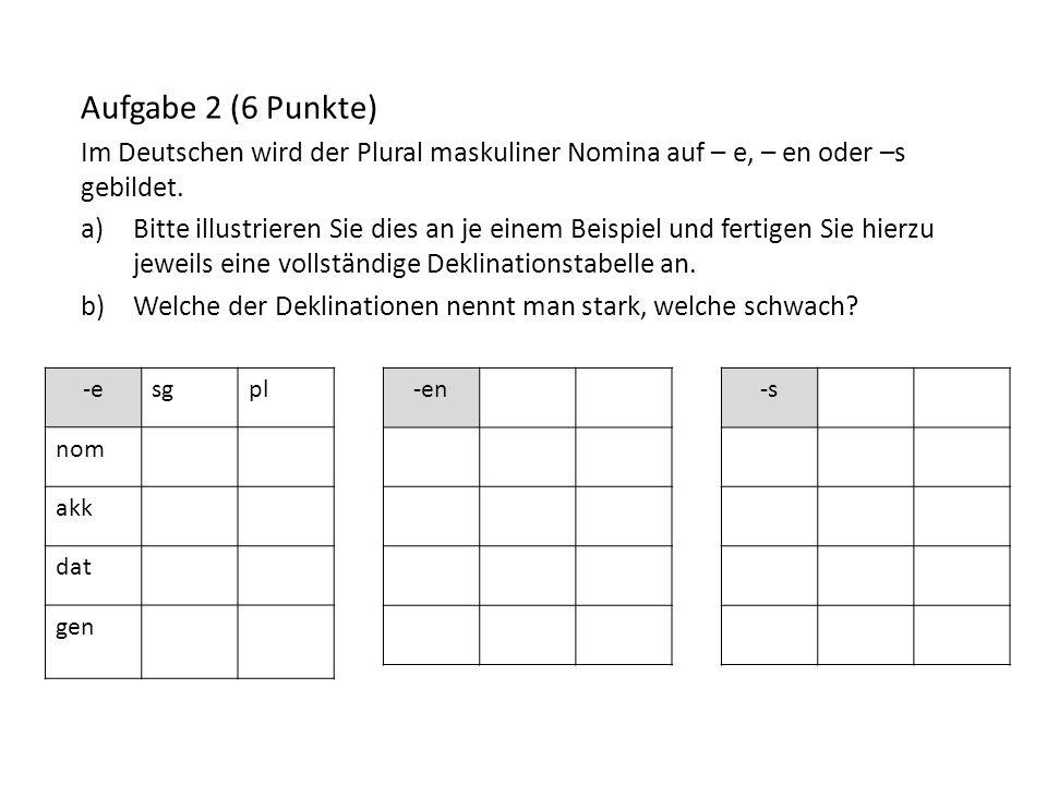 -esgpl nom akk dat gen Aufgabe 2 (6 Punkte) Im Deutschen wird der Plural maskuliner Nomina auf – e, – en oder –s gebildet. a)Bitte illustrieren Sie di