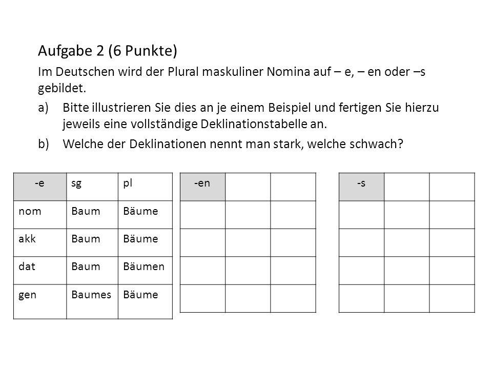 Aufgabe 2 (6 Punkte) Im Deutschen wird der Plural maskuliner Nomina auf – e, – en oder –s gebildet. a)Bitte illustrieren Sie dies an je einem Beispiel