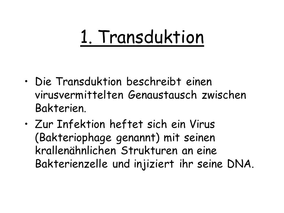 1. Transduktion Die Transduktion beschreibt einen virusvermittelten Genaustausch zwischen Bakterien. Zur Infektion heftet sich ein Virus (Bakteriophag