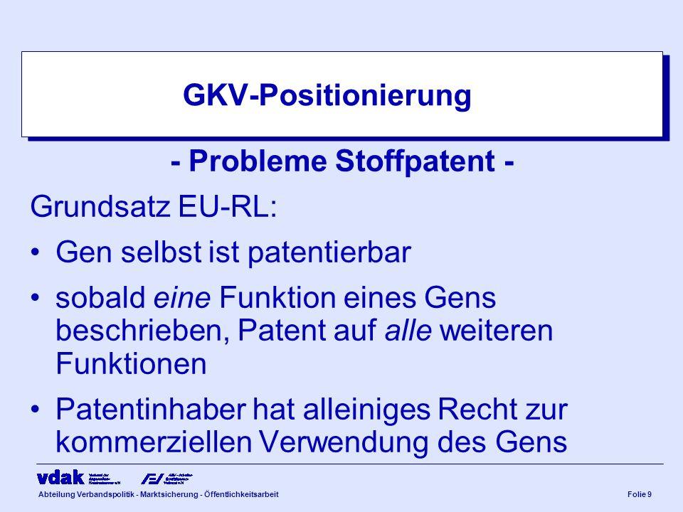 Abteilung Verbandspolitik - Marktsicherung - ÖffentlichkeitsarbeitFolie 9 GKV-Positionierung - Probleme Stoffpatent - Grundsatz EU-RL: Gen selbst ist