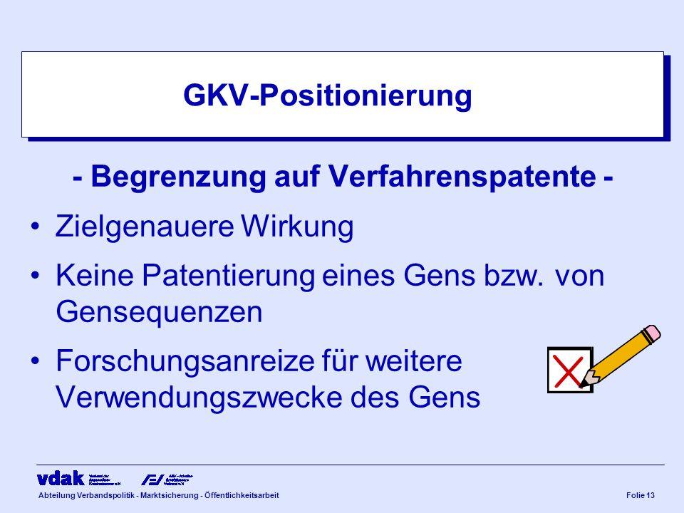 Abteilung Verbandspolitik - Marktsicherung - ÖffentlichkeitsarbeitFolie 13 GKV-Positionierung - Begrenzung auf Verfahrenspatente - Zielgenauere Wirkun
