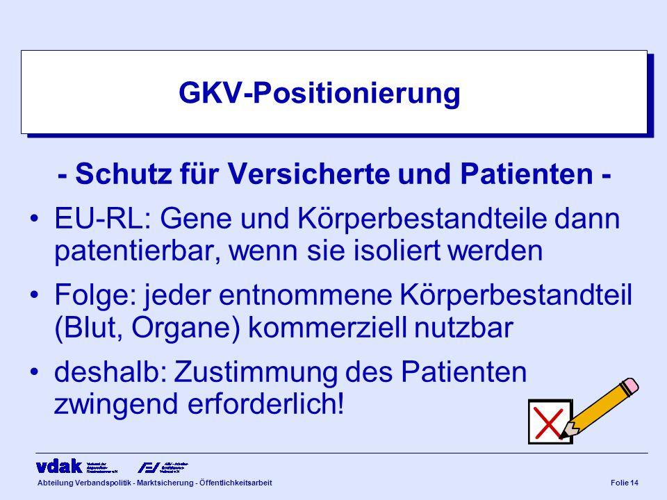 Abteilung Verbandspolitik - Marktsicherung - ÖffentlichkeitsarbeitFolie 14 GKV-Positionierung - Schutz für Versicherte und Patienten - EU-RL: Gene und