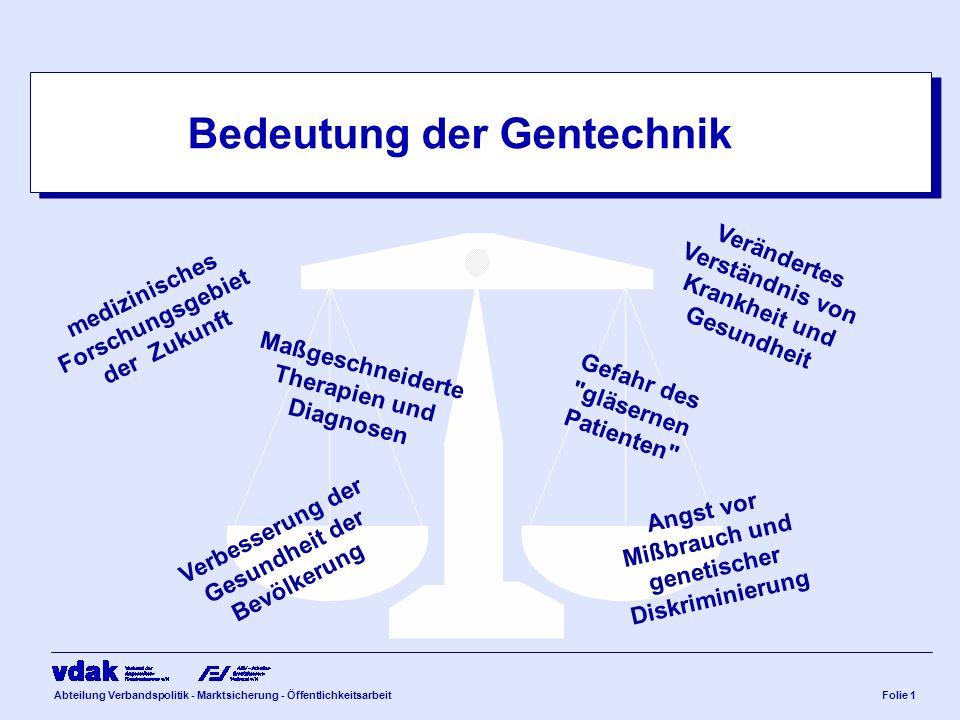 Abteilung Verbandspolitik - Marktsicherung - ÖffentlichkeitsarbeitFolie 1 Bedeutung der Gentechnik medizinisches Forschungsgebiet der Zukunft Maßgesch