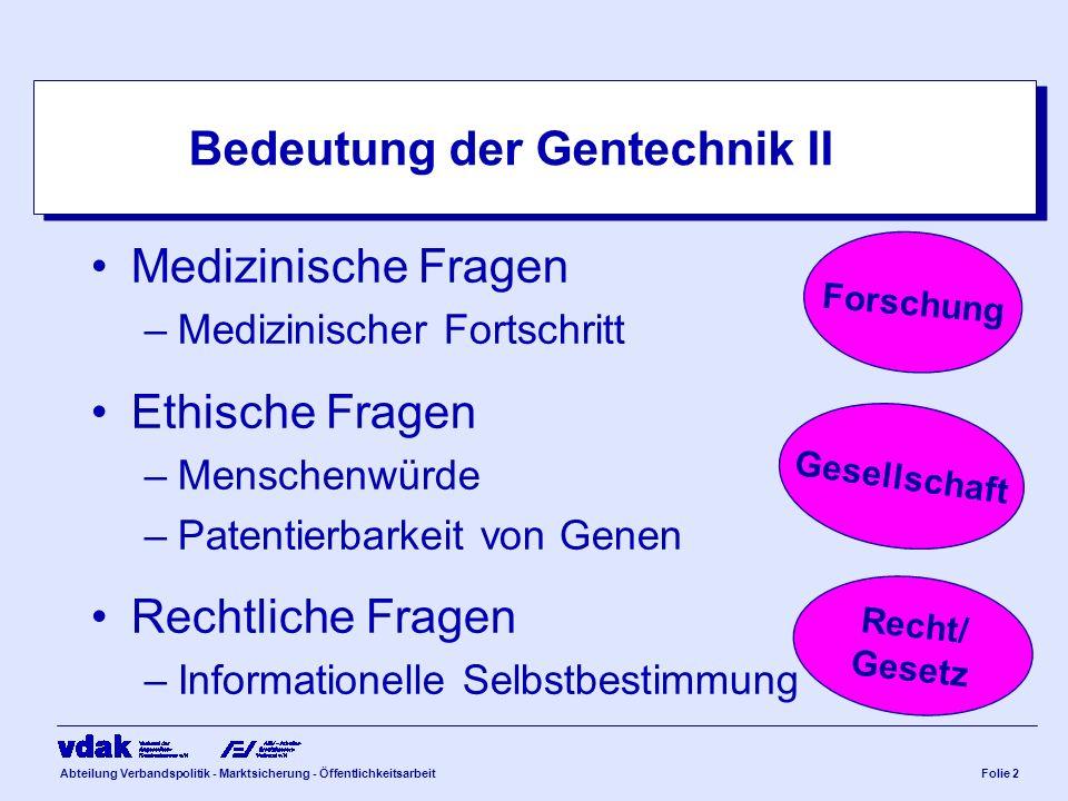 Abteilung Verbandspolitik - Marktsicherung - ÖffentlichkeitsarbeitFolie 2 Bedeutung der Gentechnik II Medizinische Fragen –Medizinischer Fortschritt E