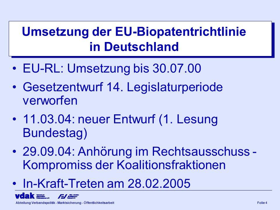 Abteilung Verbandspolitik - Marktsicherung - ÖffentlichkeitsarbeitFolie 4 Umsetzung der EU-Biopatentrichtlinie in Deutschland EU-RL: Umsetzung bis 30.