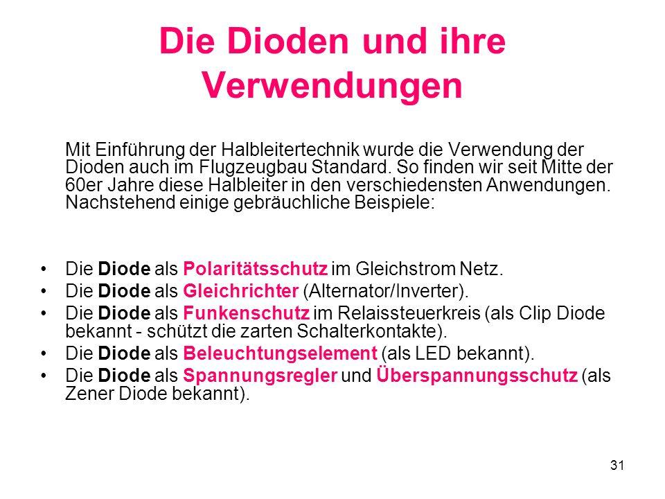 31 Die Dioden und ihre Verwendungen Mit Einführung der Halbleitertechnik wurde die Verwendung der Dioden auch im Flugzeugbau Standard. So finden wir s