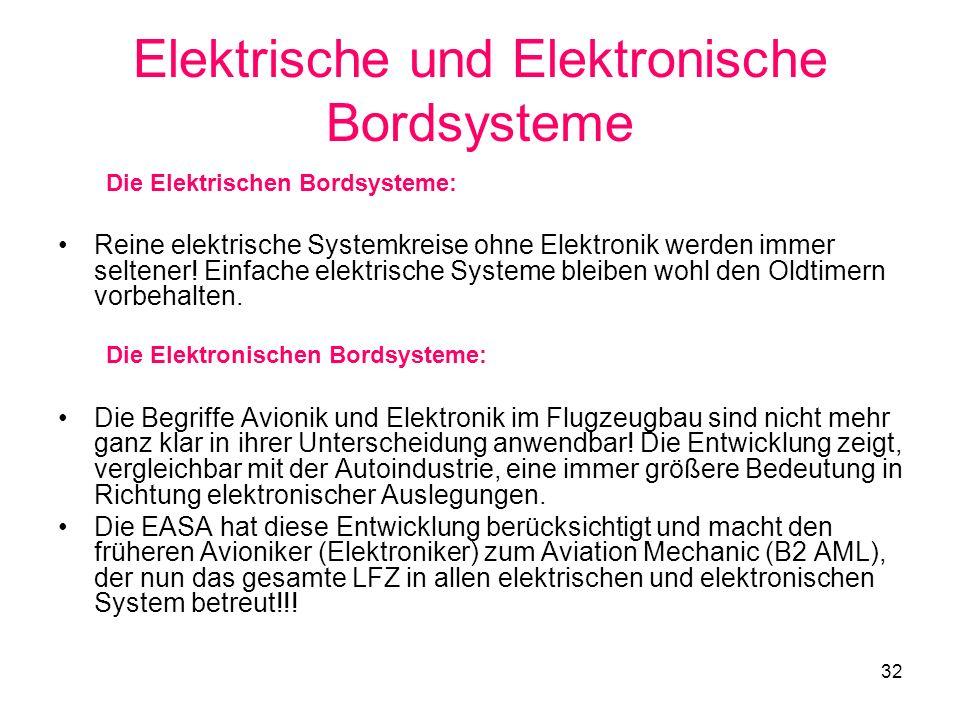 32 Elektrische und Elektronische Bordsysteme Die Elektrischen Bordsysteme: Reine elektrische Systemkreise ohne Elektronik werden immer seltener! Einfa