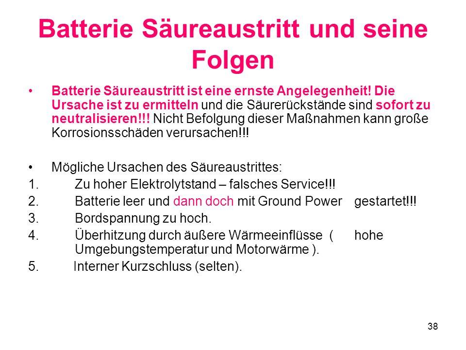 38 Batterie Säureaustritt und seine Folgen Batterie Säureaustritt ist eine ernste Angelegenheit! Die Ursache ist zu ermitteln und die Säurerückstände