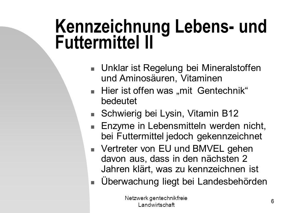 Netzwerk gentechnikfreie Landwirtschaft 6 Kennzeichnung Lebens- und Futtermittel II Unklar ist Regelung bei Mineralstoffen und Aminosäuren, Vitaminen