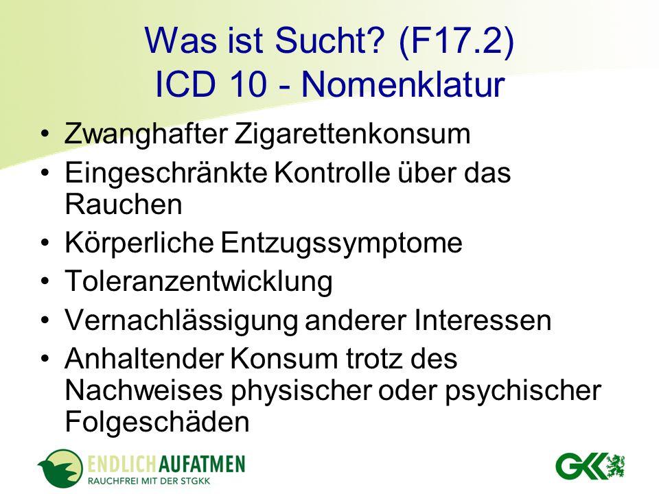 Was ist Sucht? (F17.2) ICD 10 - Nomenklatur Zwanghafter Zigarettenkonsum Eingeschränkte Kontrolle über das Rauchen Körperliche Entzugssymptome Toleran