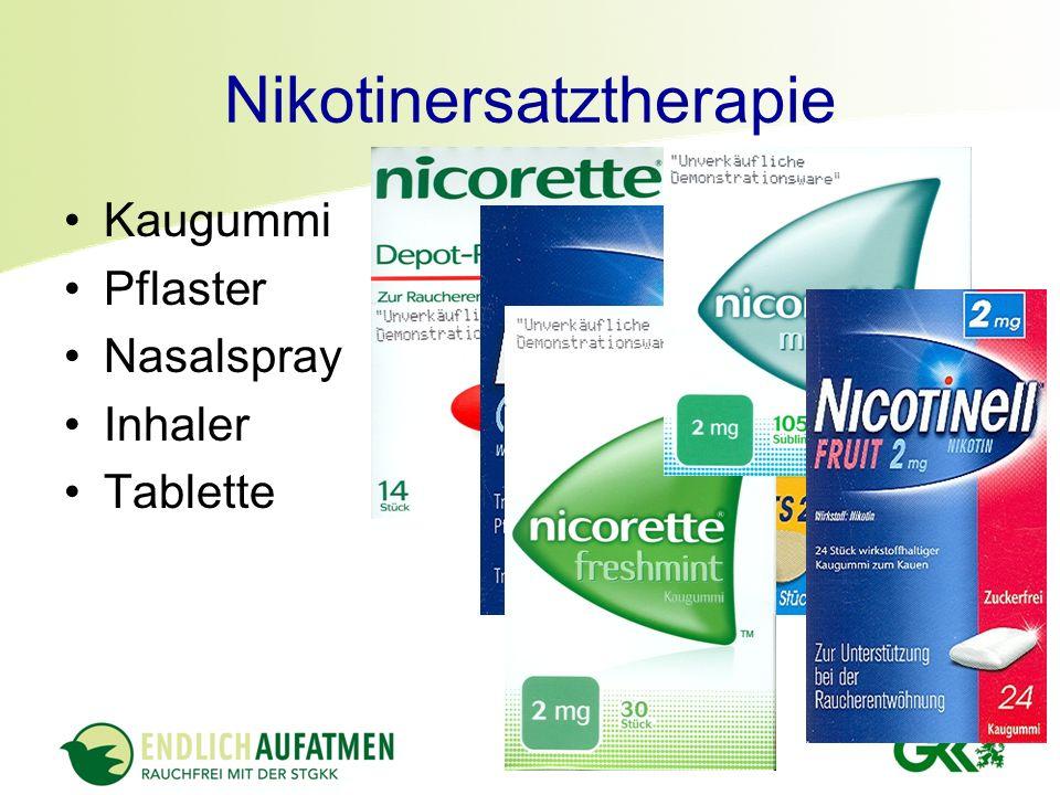 Nikotinersatztherapie Kaugummi Pflaster Nasalspray Inhaler Tablette