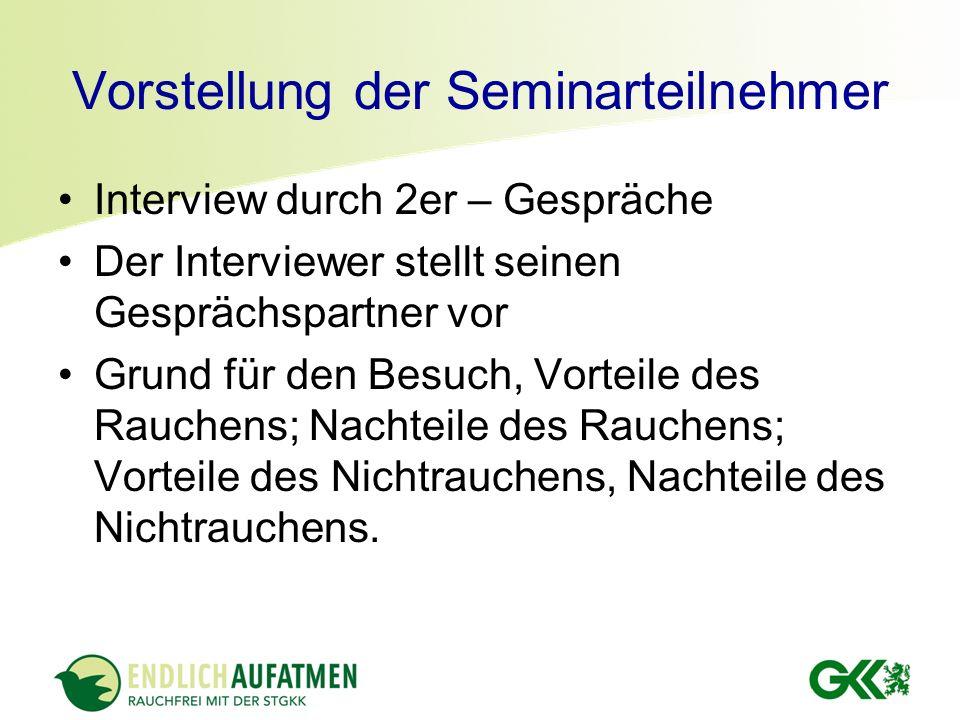 Vorstellung der Seminarteilnehmer Interview durch 2er – Gespräche Der Interviewer stellt seinen Gesprächspartner vor Grund für den Besuch, Vorteile de
