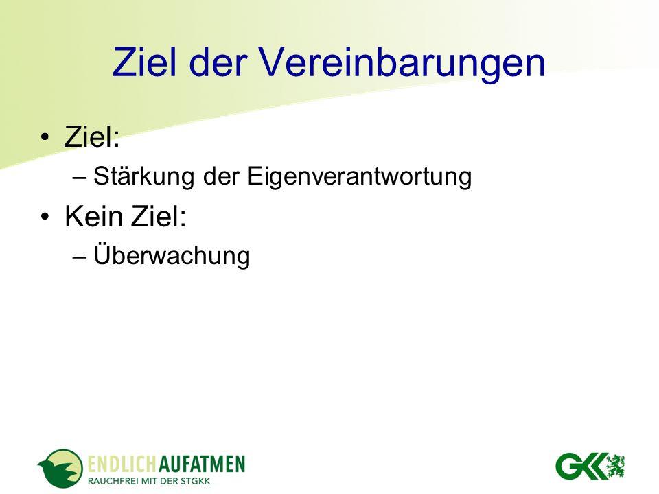 Ziel der Vereinbarungen Ziel: –Stärkung der Eigenverantwortung Kein Ziel: –Überwachung