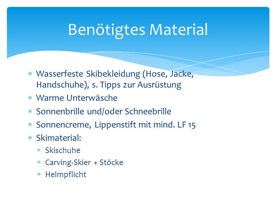Wasserfeste Skibekleidung (Hose, Jacke, Handschuhe), s.