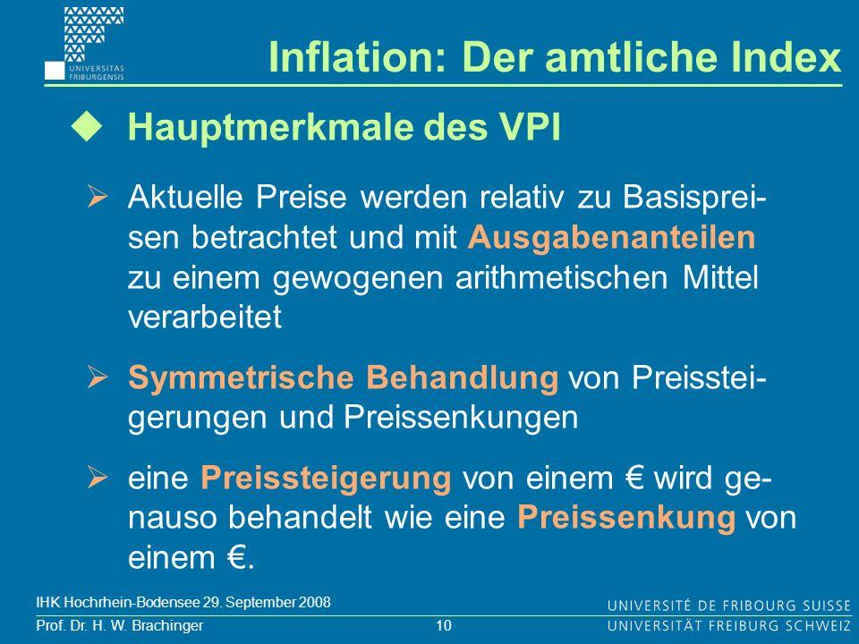 10 Prof. Dr. H. W. Brachinger IHK Hochrhein-Bodensee 29. September 2008 Hauptmerkmale des VPI Aktuelle Preise werden relativ zu Basisprei- sen betrach
