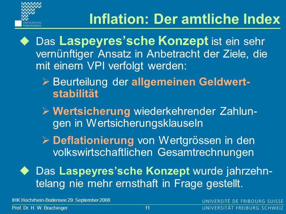 11 Prof. Dr. H. W. Brachinger IHK Hochrhein-Bodensee 29. September 2008 Das Laspeyressche Konzept ist ein sehr vernünftiger Ansatz in Anbetracht der Z