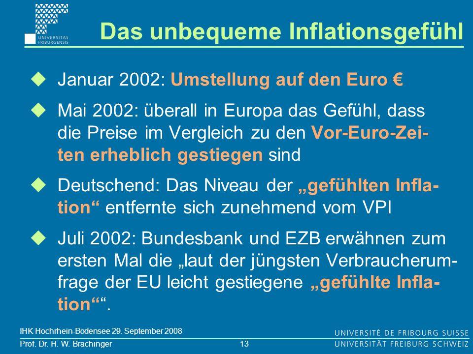 13 Prof. Dr. H. W. Brachinger IHK Hochrhein-Bodensee 29. September 2008 Januar 2002: Umstellung auf den Euro Mai 2002: überall in Europa das Gefühl, d