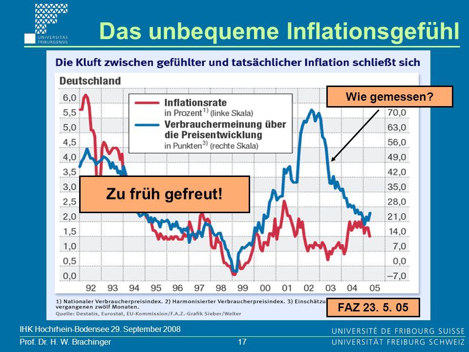 17 Prof. Dr. H. W. Brachinger IHK Hochrhein-Bodensee 29. September 2008 FAZ 23. 5. 05 Wie gemessen? Das unbequeme Inflationsgefühl Zu früh gefreut!