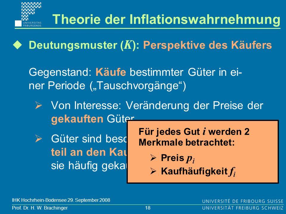 18 Prof. Dr. H. W. Brachinger IHK Hochrhein-Bodensee 29. September 2008 Deutungsmuster ( K ): Perspektive des Käufers Gegenstand: Käufe bestimmter Güt