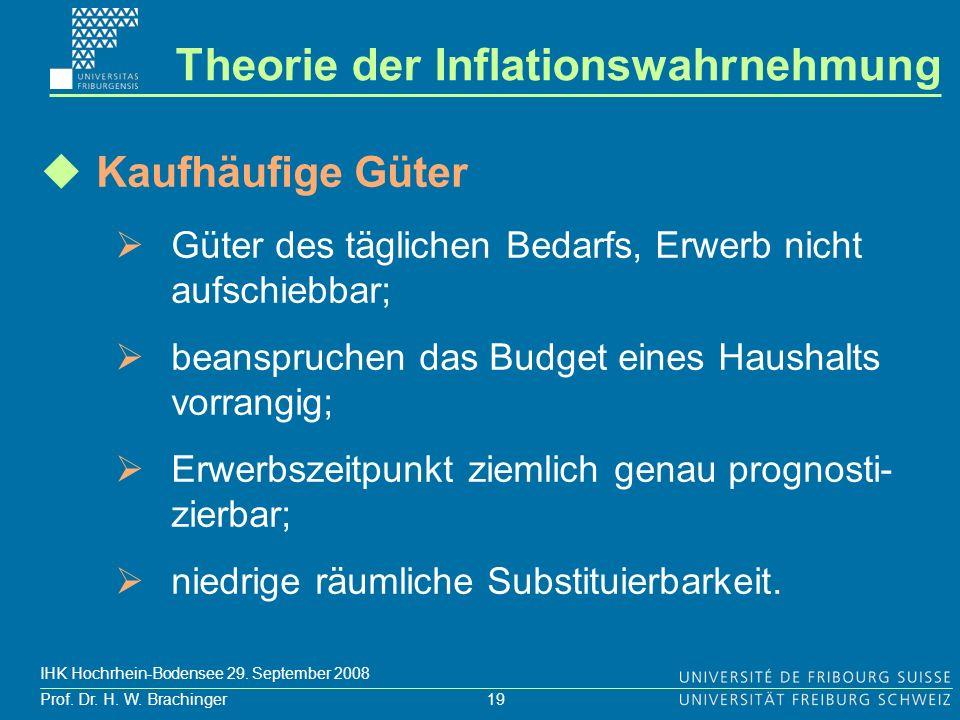 19 Prof. Dr. H. W. Brachinger IHK Hochrhein-Bodensee 29. September 2008 Kaufhäufige Güter Güter des täglichen Bedarfs, Erwerb nicht aufschiebbar; bean