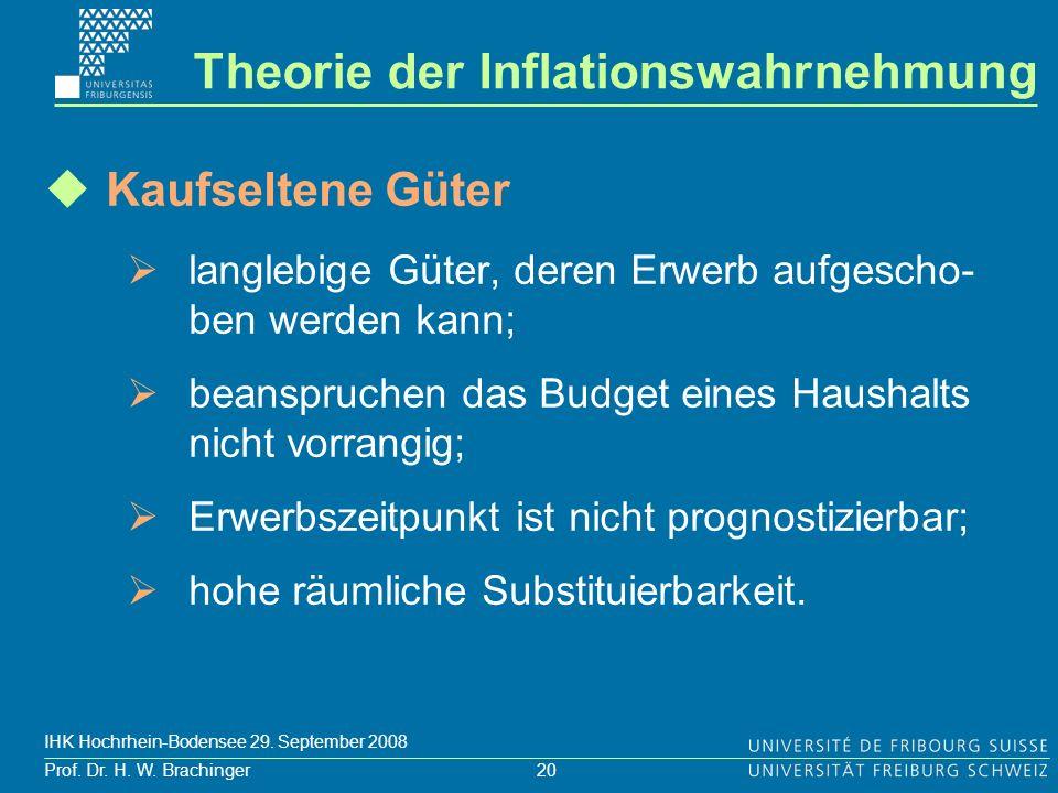 20 Prof. Dr. H. W. Brachinger IHK Hochrhein-Bodensee 29. September 2008 Kaufseltene Güter langlebige Güter, deren Erwerb aufgescho- ben werden kann; b