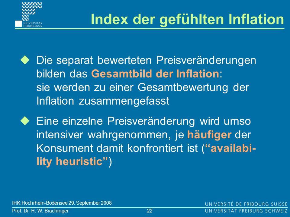 22 Prof. Dr. H. W. Brachinger IHK Hochrhein-Bodensee 29. September 2008 Die separat bewerteten Preisveränderungen bilden das Gesamtbild der Inflation: