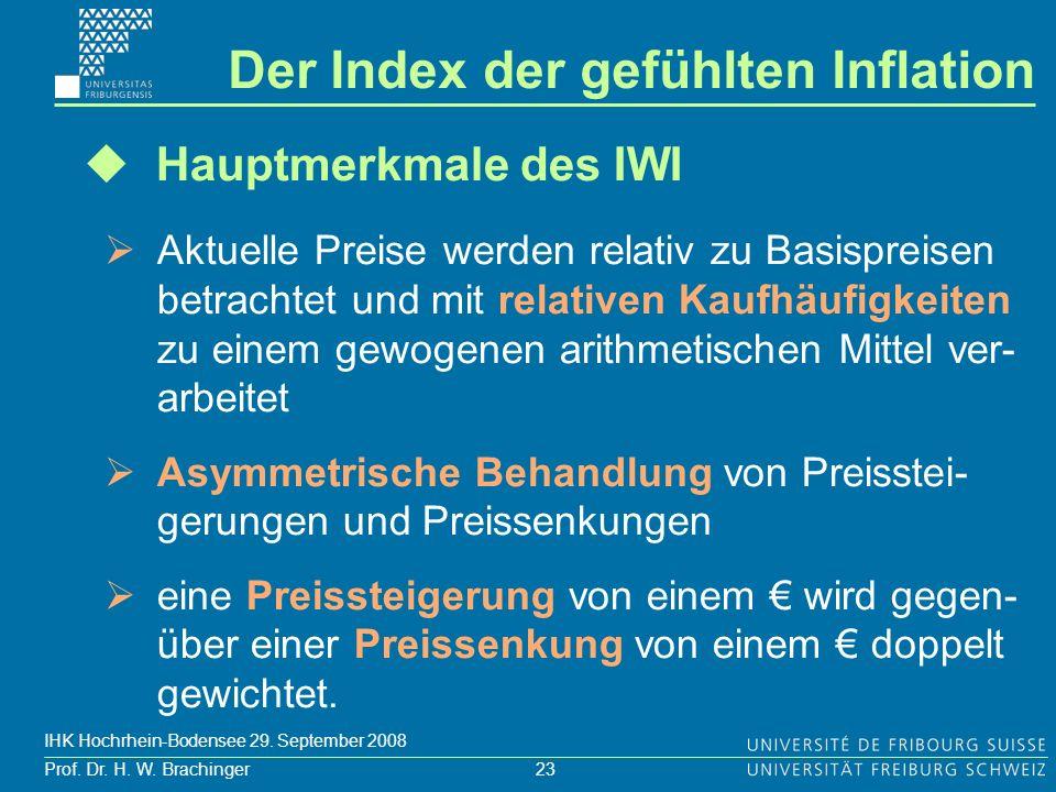 23 Prof. Dr. H. W. Brachinger IHK Hochrhein-Bodensee 29. September 2008 Hauptmerkmale des IWI Aktuelle Preise werden relativ zu Basispreisen betrachte