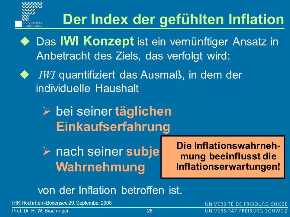 28 Prof. Dr. H. W. Brachinger IHK Hochrhein-Bodensee 29. September 2008 Das IWI Konzept ist ein vernünftiger Ansatz in Anbetracht des Ziels, das verfo