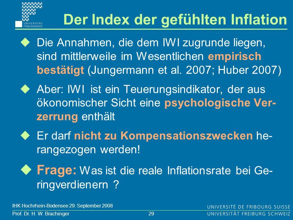 29 Prof. Dr. H. W. Brachinger IHK Hochrhein-Bodensee 29. September 2008 Die Annahmen, die dem IWI zugrunde liegen, sind mittlerweile im Wesentlichen e
