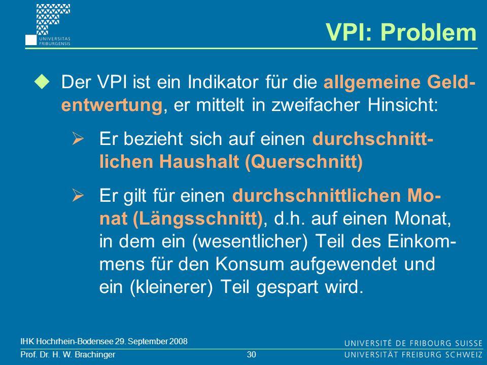 30 Prof. Dr. H. W. Brachinger IHK Hochrhein-Bodensee 29. September 2008 VPI: Problem Der VPI ist ein Indikator für die allgemeine Geld- entwertung, er