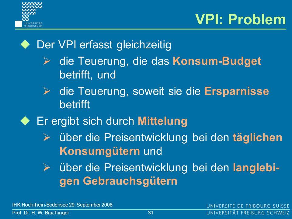 31 Prof. Dr. H. W. Brachinger IHK Hochrhein-Bodensee 29. September 2008 Der VPI erfasst gleichzeitig die Teuerung, die das Konsum-Budget betrifft, und