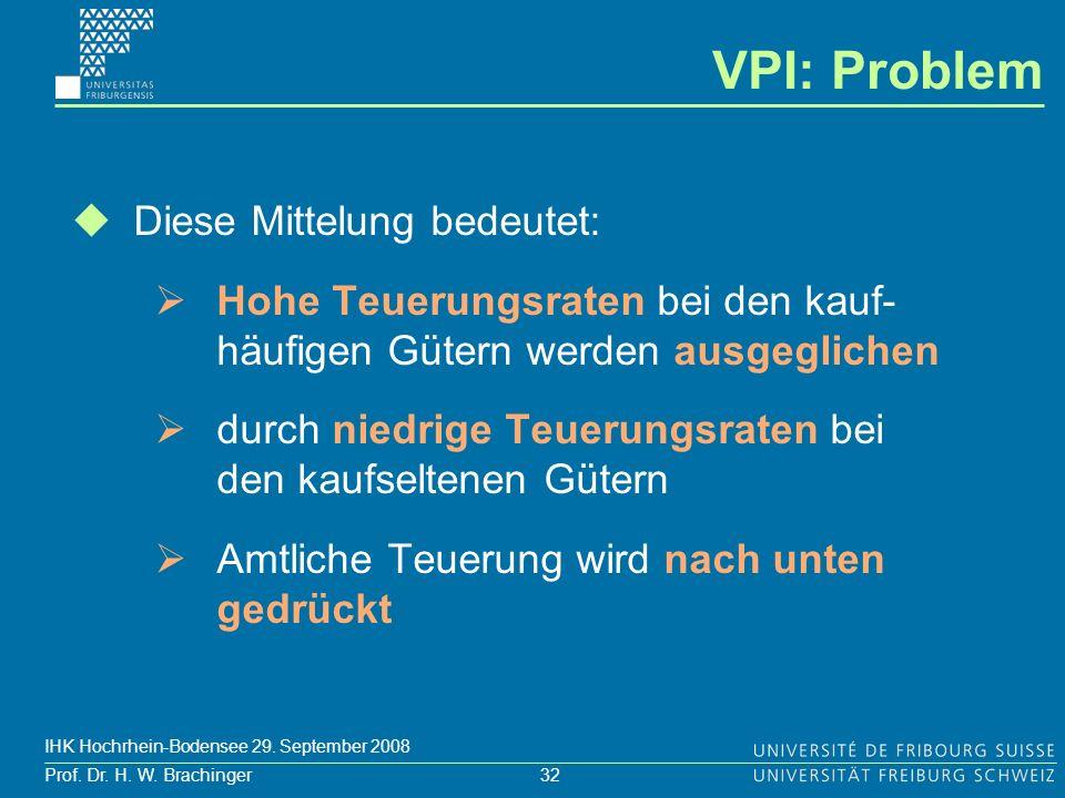 32 Prof. Dr. H. W. Brachinger IHK Hochrhein-Bodensee 29. September 2008 Diese Mittelung bedeutet: Hohe Teuerungsraten bei den kauf- häufigen Gütern we