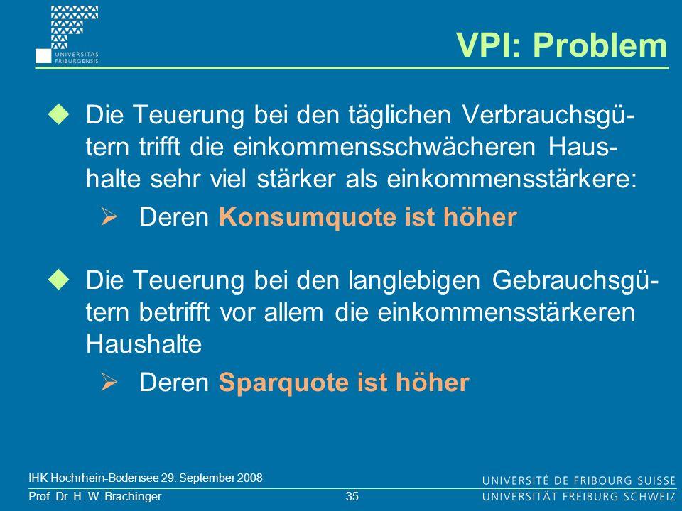 35 Prof. Dr. H. W. Brachinger IHK Hochrhein-Bodensee 29. September 2008 Die Teuerung bei den täglichen Verbrauchsgü- tern trifft die einkommensschwäch