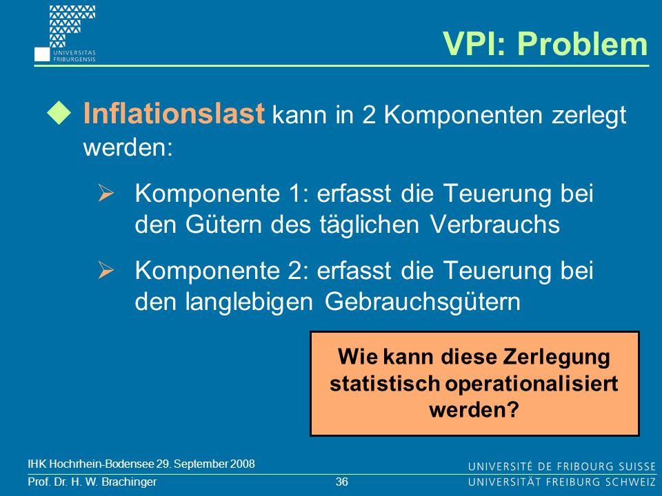 36 Prof. Dr. H. W. Brachinger IHK Hochrhein-Bodensee 29. September 2008 Inflationslast kann in 2 Komponenten zerlegt werden: Komponente 1: erfasst die