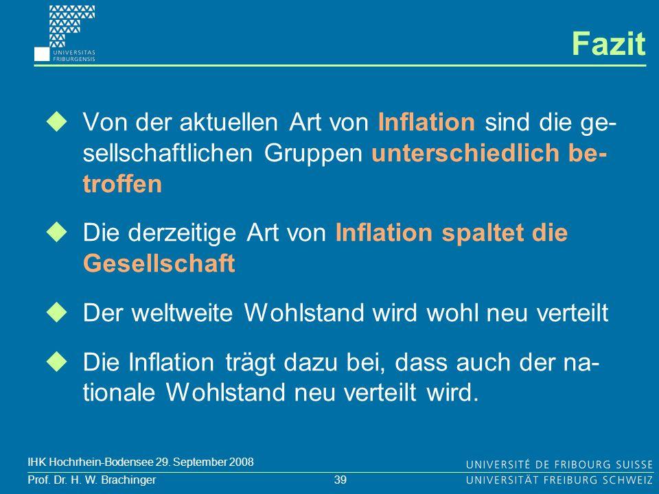 39 Prof. Dr. H. W. Brachinger IHK Hochrhein-Bodensee 29. September 2008 Fazit Von der aktuellen Art von Inflation sind die ge- sellschaftlichen Gruppe