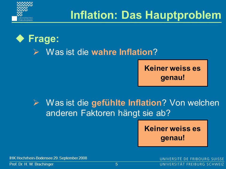 5 Prof. Dr. H. W. Brachinger IHK Hochrhein-Bodensee 29. September 2008 Frage: Was ist die wahre Inflation? Was ist die gefühlte Inflation? Von welchen