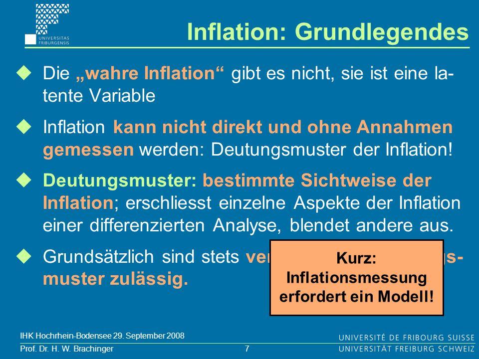 7 Prof. Dr. H. W. Brachinger IHK Hochrhein-Bodensee 29. September 2008 Die wahre Inflation gibt es nicht, sie ist eine la- tente Variable Inflation ka