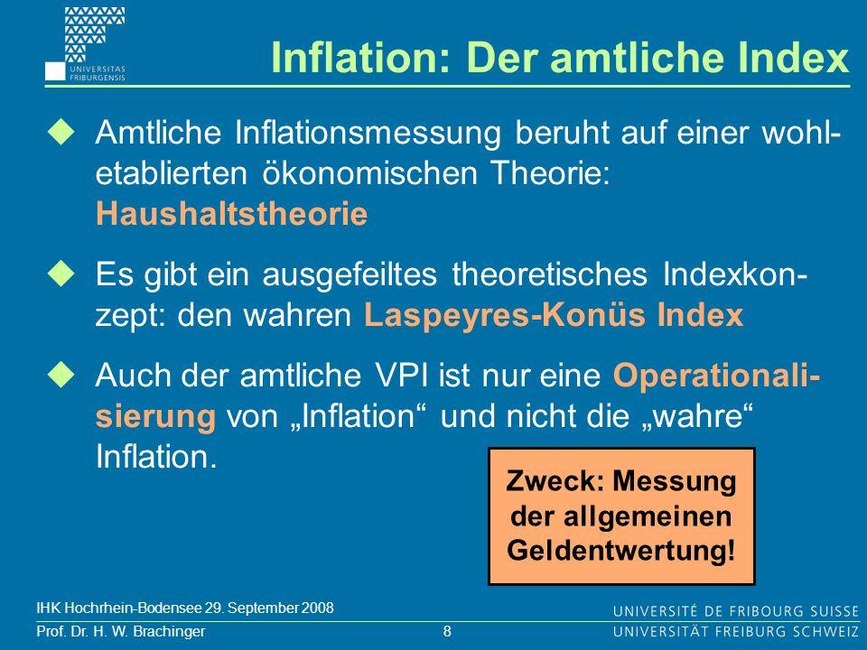 8 Prof. Dr. H. W. Brachinger IHK Hochrhein-Bodensee 29. September 2008 Inflation: Der amtliche Index Amtliche Inflationsmessung beruht auf einer wohl-