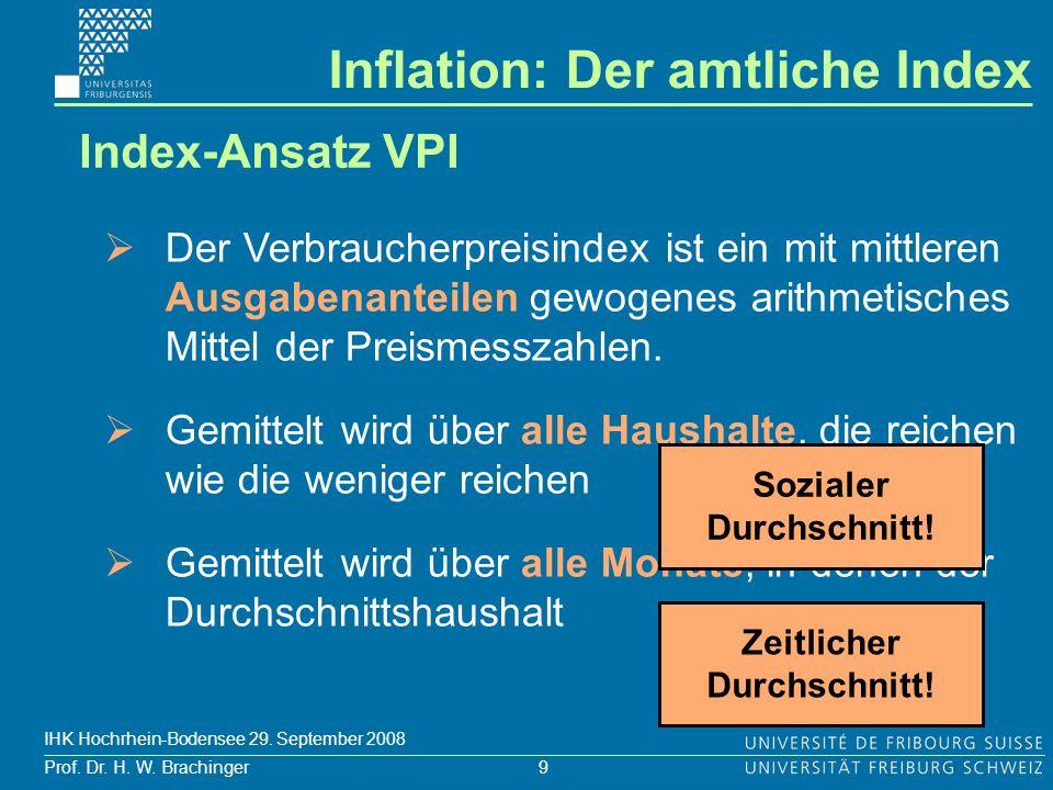 9 Prof. Dr. H. W. Brachinger IHK Hochrhein-Bodensee 29. September 2008 Der Verbraucherpreisindex ist ein mit mittleren Ausgabenanteilen gewogenes arit