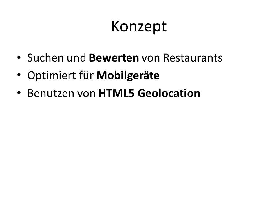 Konzept Suchen und Bewerten von Restaurants Optimiert für Mobilgeräte Benutzen von HTML5 Geolocation