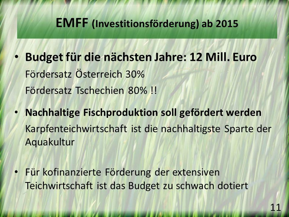 Budget für die nächsten Jahre: 12 Mill. Euro Fördersatz Österreich 30% Fördersatz Tschechien 80% !! Nachhaltige Fischproduktion soll gefördert werden